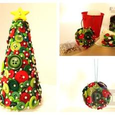 ของตกแต่งวันปีใหม่ คริสต์มาส ลูกบอลกระดุม + ต้นคริสต์มาส
