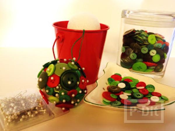 รูป 3 ของตกแต่งวันปีใหม่ คริสต์มาส ลูกบอลกระดุม + ต้นคริสต์มาส