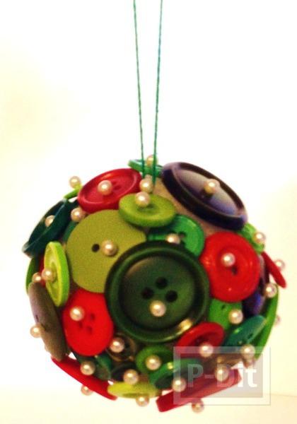 รูป 4 ของตกแต่งวันปีใหม่ คริสต์มาส ลูกบอลกระดุม + ต้นคริสต์มาส