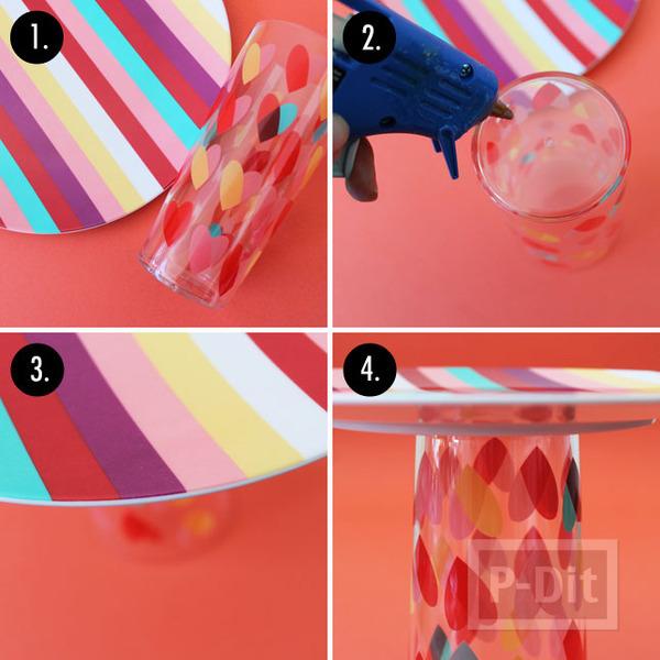 รูป 5 แท่นวางขนม ประดิษฐ์เอง จากแก้วและจาน