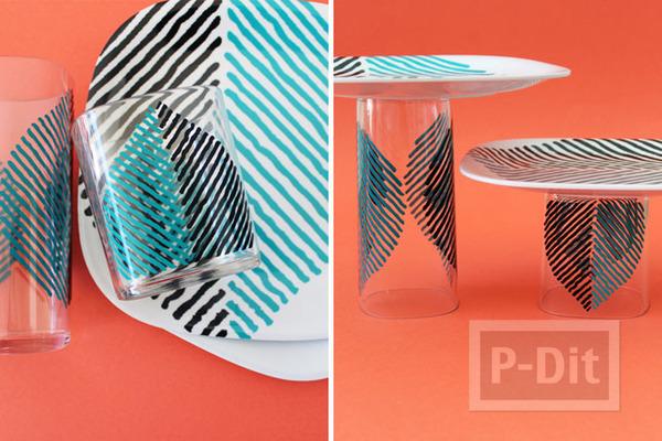 รูป 7 แท่นวางขนม ประดิษฐ์เอง จากแก้วและจาน