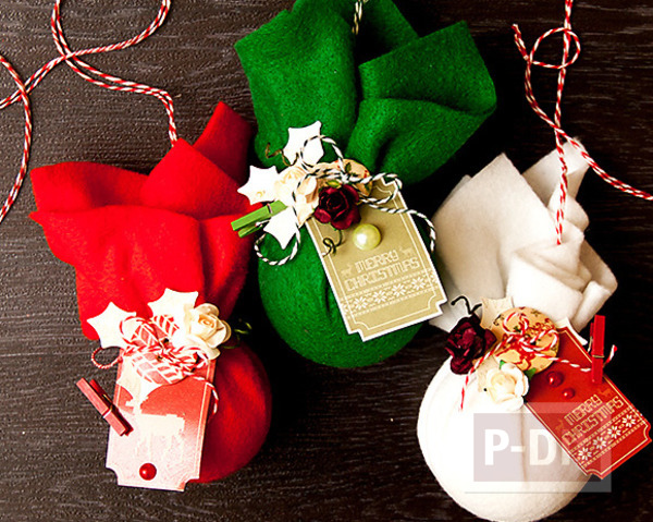 ทำของประดับต้นคริสต์มาส สีแดง เขียว สีสด