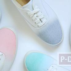 รองเท้าผ้าใบสีขาว ระบายสีอ่อน สดใส