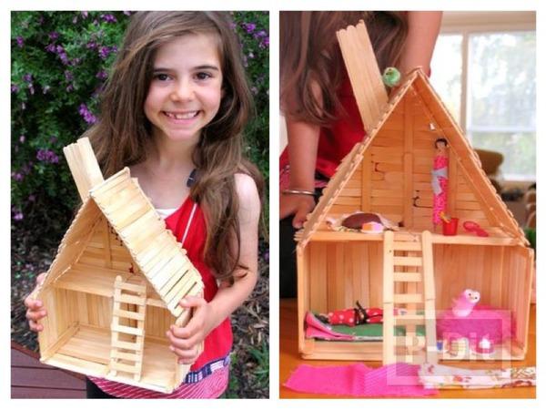 รูป 1 บ้านตุ๊กตา ทำจากไม้ไอติม
