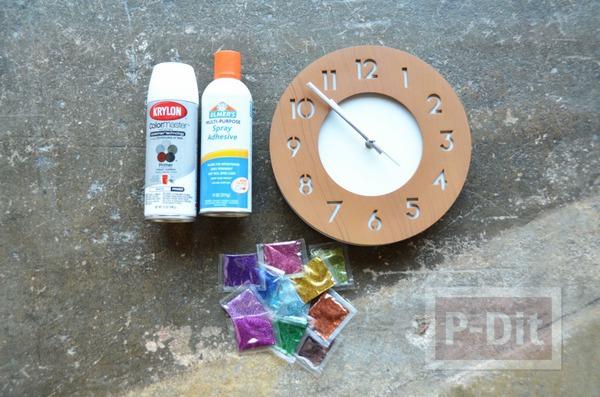 รูป 2 นาฬิกาติดผนัง พ่นสีขาว ประดับกากเพชร