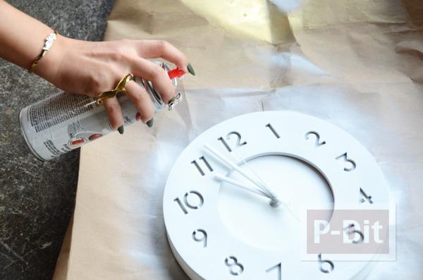 รูป 3 นาฬิกาติดผนัง พ่นสีขาว ประดับกากเพชร