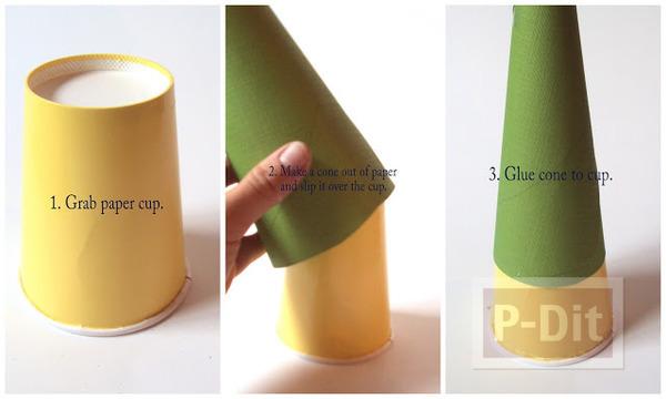 รูป 3 ต้นคริสต์มาส ทำจากกระดาษทิชชู และถ้วยกระดาษ