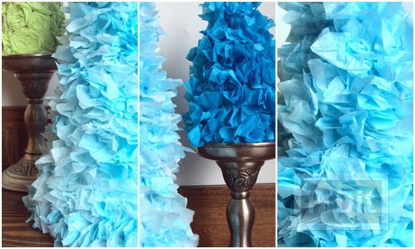 รูป 6 ต้นคริสต์มาส ทำจากกระดาษทิชชู และถ้วยกระดาษ