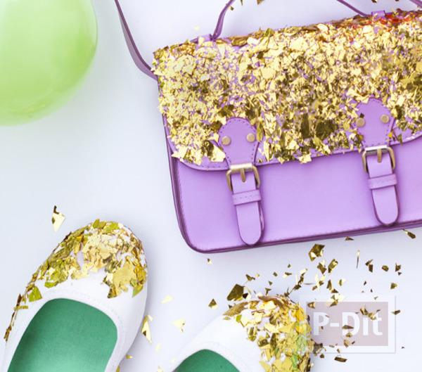 รูป 1 กระเป๋า รองเท้า ตกแต่งจากกระดาษทองคำเปลว