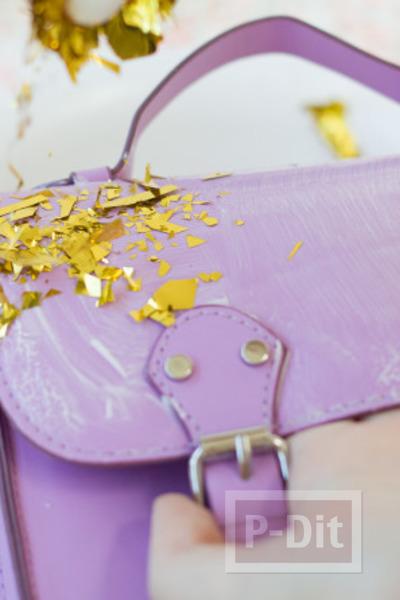 รูป 3 กระเป๋า รองเท้า ตกแต่งจากกระดาษทองคำเปลว