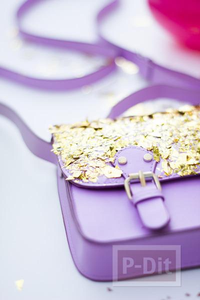 รูป 6 กระเป๋า รองเท้า ตกแต่งจากกระดาษทองคำเปลว