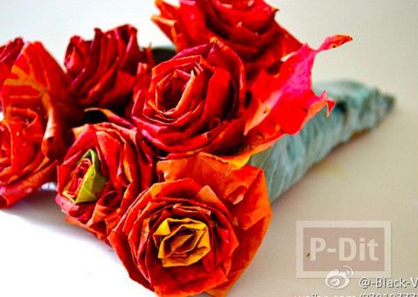 รูป 1 ประดิษฐ์ดอกไม้สวยๆ จากใบเมเปิล