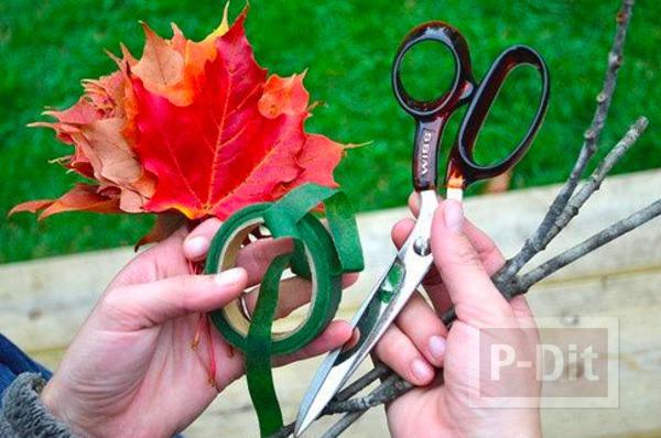รูป 3 ประดิษฐ์ดอกไม้สวยๆ จากใบเมเปิล