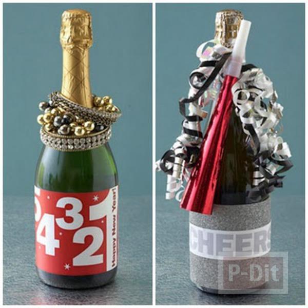 รูป 1 ตกแต่งขวดไวน์ ขวดเหล้า ของขวัญวันปีใหม่