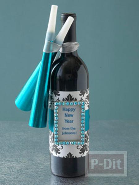 รูป 3 ตกแต่งขวดไวน์ ขวดเหล้า ของขวัญวันปีใหม่