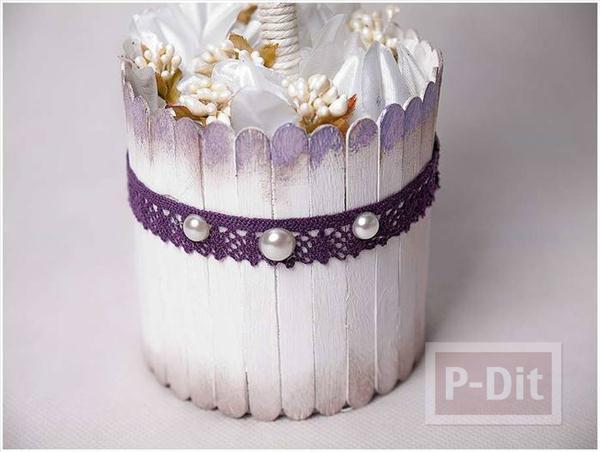 รูป 1 ทำกระถางดอกไม้ประดิษฐ์ จากไม้ไอติม
