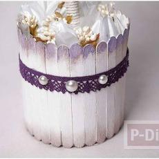 ทำกระถางดอกไม้ประดิษฐ์ จากไม้ไอติม