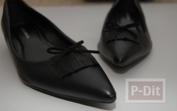 รูป 1 รองเท้าคัชชูสีดำ ตกแต่งประดับโบว์น่ารัก
