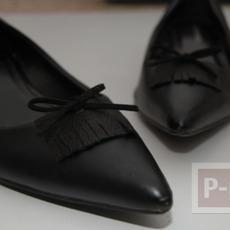 รองเท้าคัชชูสีดำ ตกแต่งประดับโบว์น่ารัก