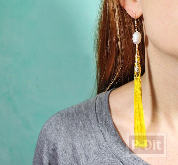 รูป 7 ต่างหู ทำจากเชือก ประดับสายสร้อย เม็ดมุก