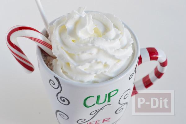 ของขวัญคริสต์มาส ตกแต่งถ้วยกาแฟ ด้วยสีเมจิก