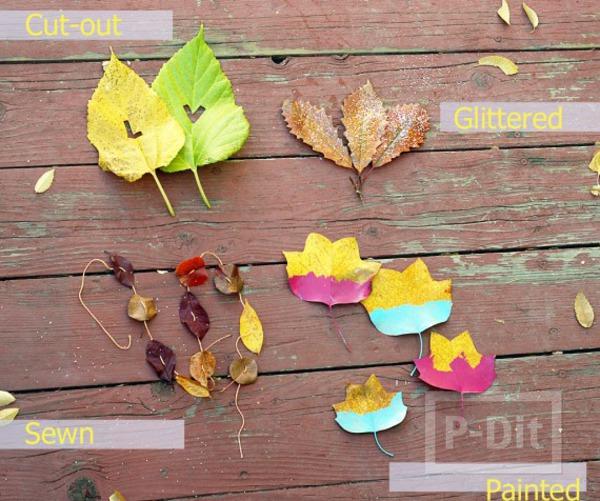 รูป 1 ใบไม้แห้ง นำมาประดิษฐ์ โบว์ห่อของขวัญ โมบาย