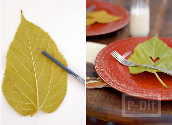 รูป 4 ใบไม้แห้ง นำมาประดิษฐ์ โบว์ห่อของขวัญ โมบาย