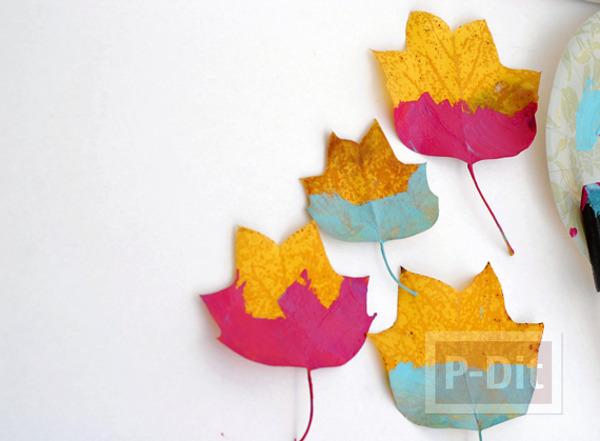 รูป 6 ใบไม้แห้ง นำมาประดิษฐ์ โบว์ห่อของขวัญ โมบาย