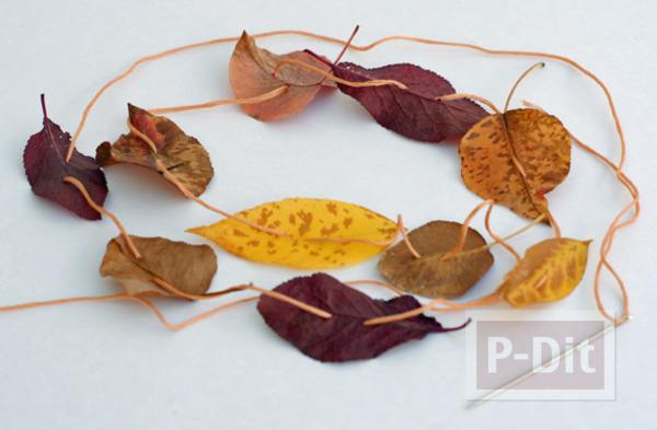รูป 7 ใบไม้แห้ง นำมาประดิษฐ์ โบว์ห่อของขวัญ โมบาย