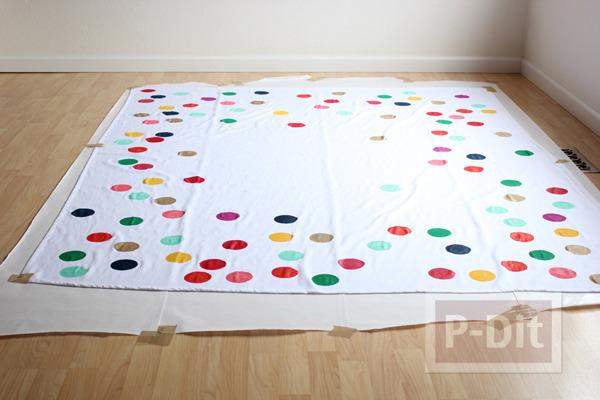 รูป 2 ผ้าปูโต๊ะลายจุด ทำเอง สีสดใส