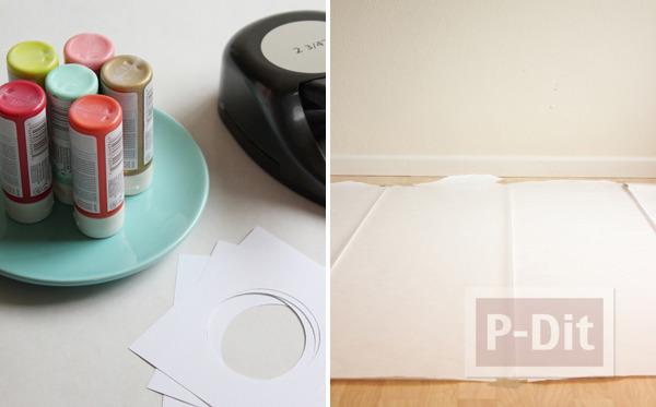 รูป 3 ผ้าปูโต๊ะลายจุด ทำเอง สีสดใส
