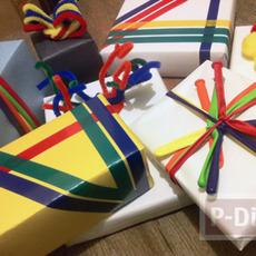 ห่อกล่องของขวัญสวยๆ จากลูกโป่ง สก็อตเทปสีสด