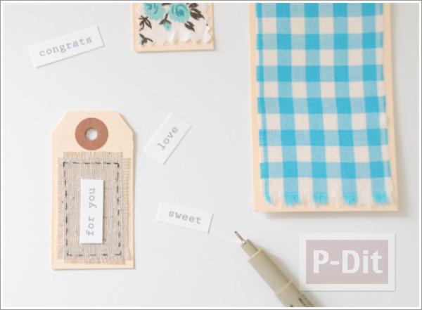 รูป 6 ตกแต่งการ์ดเล็กๆ ด้วยเศษผ้า สีสดใส
