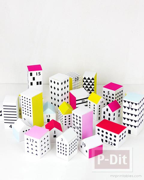 รูป 3 ไอเดียทำบ้านกระดาษ ประดับวันคริสต์มาส