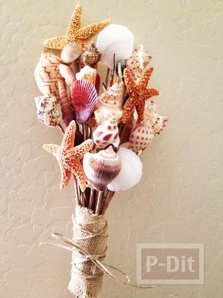 ช่อดอกไม้เปลือกหอย สวยๆ ทำเอง