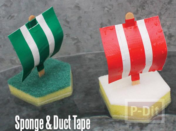 รูป 1 ทำเรือของเล่น จาก ฟองน้ำ ไม้ไอติม และสก็อตเทป
