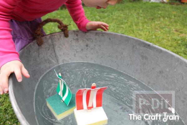 รูป 6 ทำเรือของเล่น จาก ฟองน้ำ ไม้ไอติม และสก็อตเทป