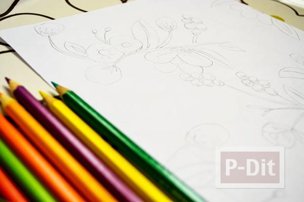 รูป 2 ตกแต่งผนังบ้าน ด้วยภาพวาด ระบายสี จากสีไม้
