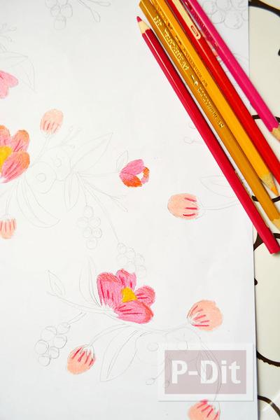 รูป 4 ตกแต่งผนังบ้าน ด้วยภาพวาด ระบายสี จากสีไม้