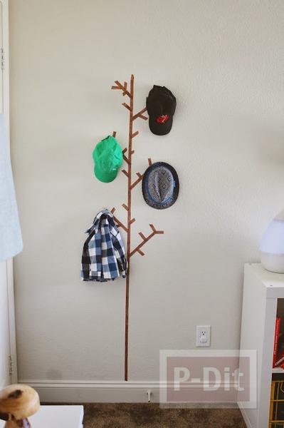 รูป 4 ไอเดียทำที่แขวนหมวก แขวนเสื้อ จากสก็อตเทป