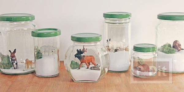รูป 1 สัตว์ป่า ในขวดแก้ว ตกแต่งแบบง่ายๆ
