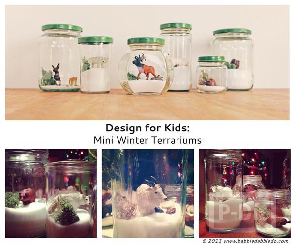 รูป 6 สัตว์ป่า ในขวดแก้ว ตกแต่งแบบง่ายๆ