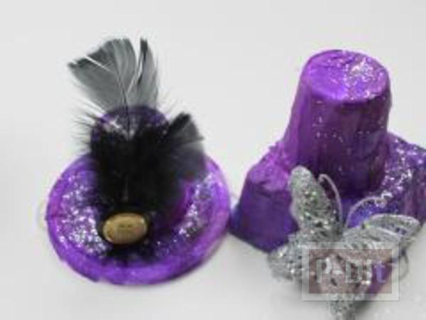 รูป 6 หมวกใบสวย ทำจากแก้วไอติมและฝากระป๋อง
