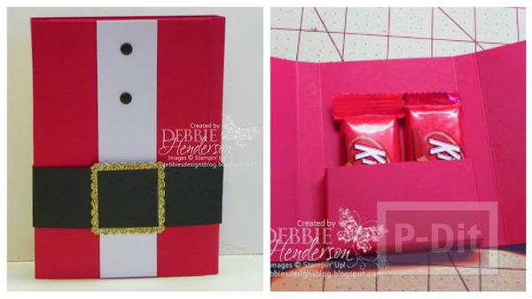 รูป 1 การ์ดคริสต์มาส สีแดงสด สอดไส้ช็อคโกแลต