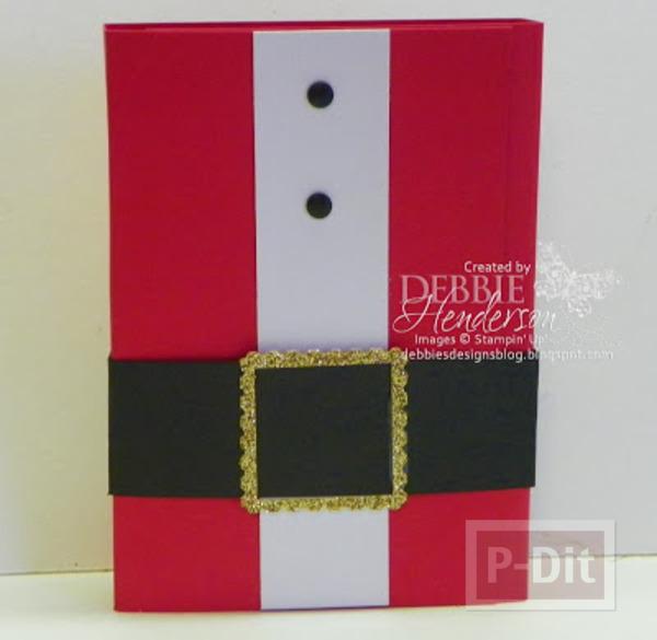 รูป 7 การ์ดคริสต์มาส สีแดงสด สอดไส้ช็อคโกแลต