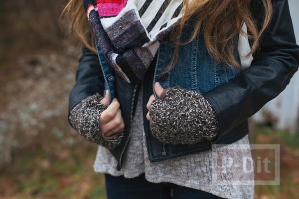 ถักถุงมือหุ้มหน้าหนาว ลายกลมๆถักต่อกัน