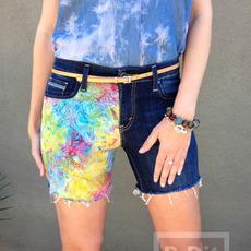 เปลี่ยนกางเกงขายาว ให้เป็นขาสั้น ประดับผ้าสีสวย