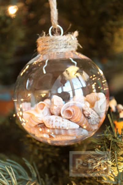 รูป 1 ลูกบอลแก้วใส่เปลือกหอย ประดับต้นคริสต์มาส