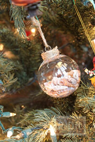 รูป 2 ลูกบอลแก้วใส่เปลือกหอย ประดับต้นคริสต์มาส