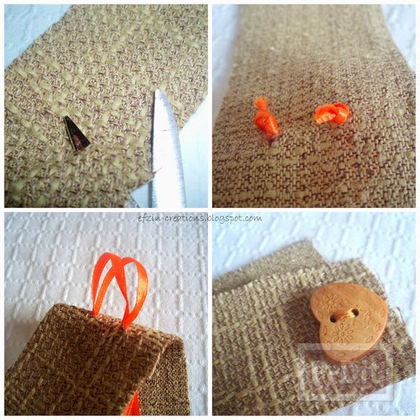 รูป 5 สายรัดของขวัญ ทำจากผ้ากระสอบ
